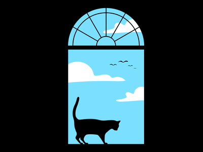 Pink Floyd - Breathe (In the Air) music window pink floyd digital animal feline cat drawing illustration