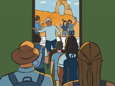 National Park Crowds moab utah desert outdoor outdoors editorial illustration national parks digital drawing illustration
