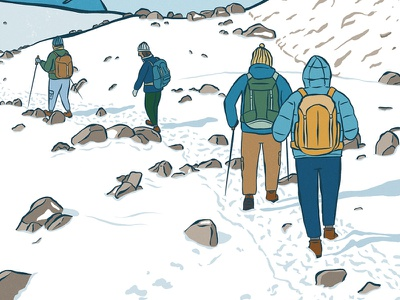 Mountain Trek outdoor hiking procreate digital drawing illustration trekking snow mountain