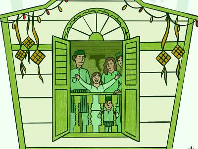 Hari Raya Celebration digital drawing illustration characters celebration kampung ketupat kampung house selamat hari raya aidilfitri hari raya eid mubarak