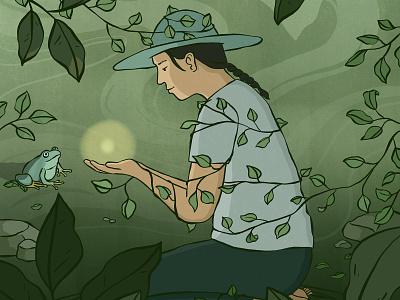 Girl with the Light enchanting ball of light frog girl leaves forest light animal digital drawing illustration