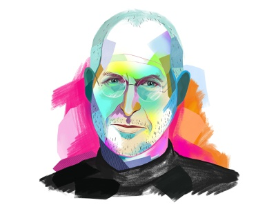 Steve Jobs illustration painterly digital collage portrait illustration portrait