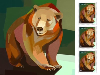 Grizzly Bear grizzly bear bear animal postage stamp stamp illustration