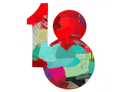 18 lettering type advent 18 collage painterly