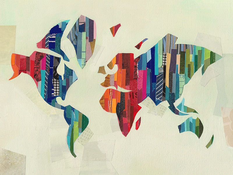 World map map illustration collage layers texture painterly