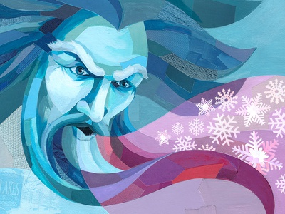 Old Man Winter painterly old man winter snowflakes collage