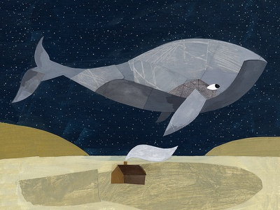 Whale kids book kids painterly collage illustration whale