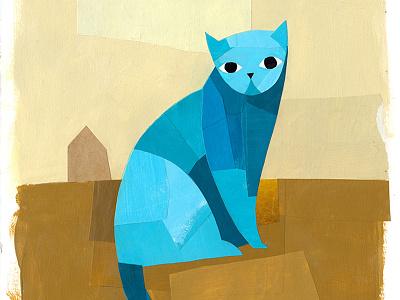 Blue Cat meow kids book kids collage illustration cat