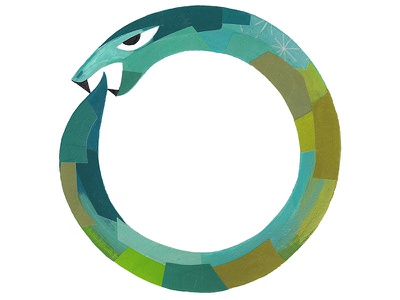 Self-portrait / Ouroboros bite tail painterly collage circle snake