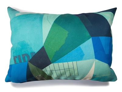 Grid Pillow fabric pillow painterly collage textile pattern