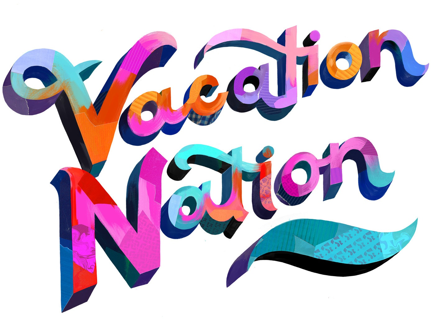 Vacation Nation letters handtype painterly collage typography type lettering