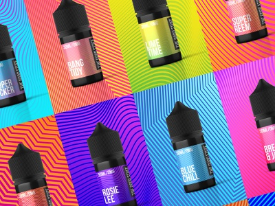 TheGoodStuff e-liquids packaging label design bold color colourful brand identity branding bottle label packaging design