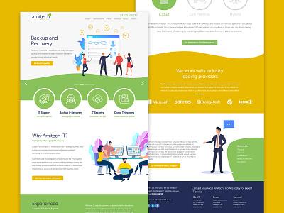 Amitech IT Website & Branding design ux ui vector logo responsive design responsive website yellow green illustration web development website design website brand identity branding