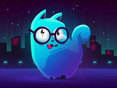 Tokyo Cat vector animal neon night city cute cat game design character iillustration