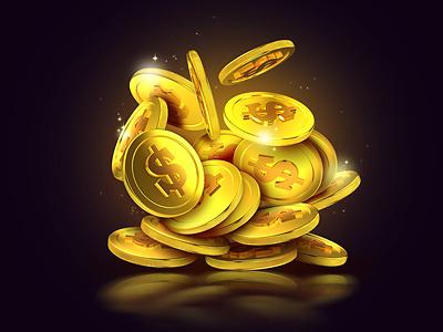 Golden coins illustration golden dollar money photoshop 3d gold coin