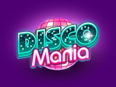 Discomania mini game logo game art icon disco retro casino logo game