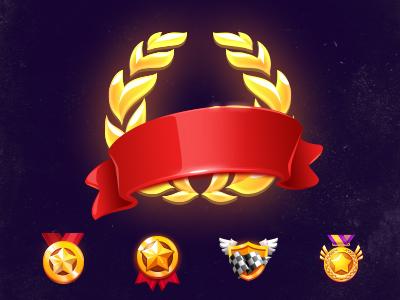 Little Icons - Tiny set medal golden gold ribbon logo small mini set icons illustration icon
