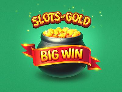 Slots of Gold ribbon irish green casino coins slots slot design game logo icon