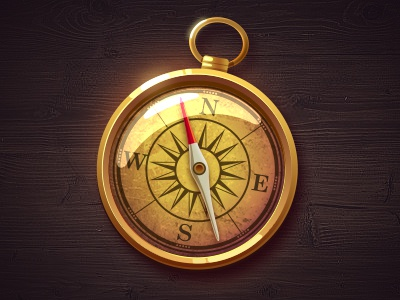 Golden Compass glass logo illustration icon gold light wood navigation compass