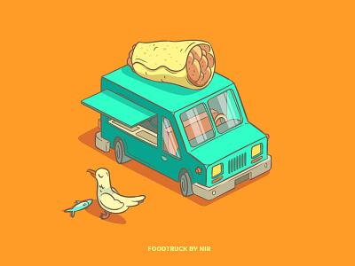 Foodtruck truck car seegull art illustration foodtruck