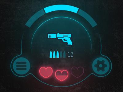 Game HUD element pistol design mobile shooter ui hud game