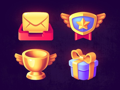 UI Icons ui golden badge email cup present logo icon