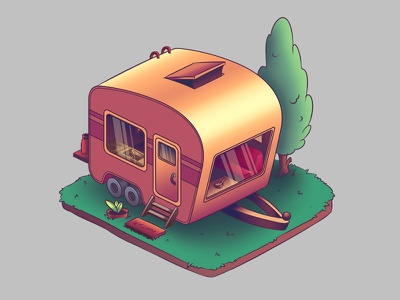 Trailer tiny isometric logo house trailer illustration game icon icon