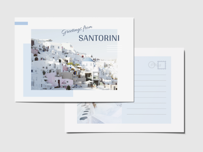 Postcard - Weekly Warmup weeklyui colorpalette poster postcard greece santorini photography travel blue weeklywarmup dribbbleweeklywarmup uidesign landingpage design clean minimal figma