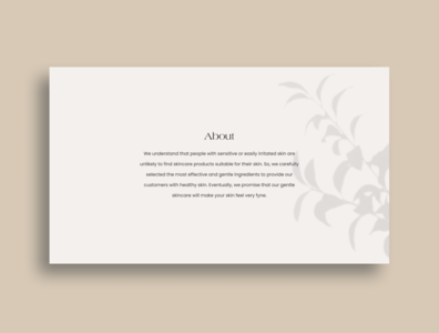 Fyne About Section web design concept design ui visual design minimal portfolio freelance project skincare ui design typography photography homepage about section clean branding