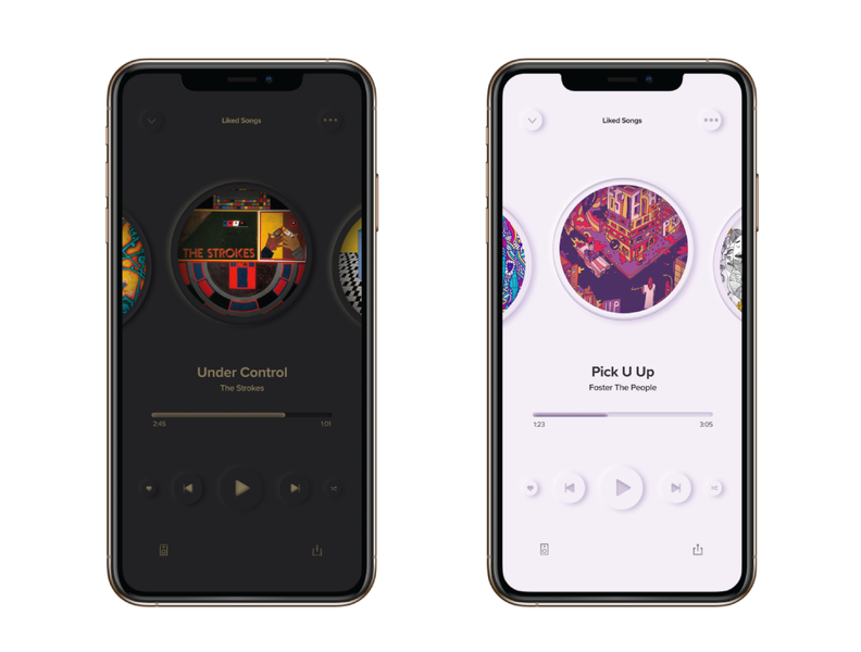 Neumorphism Spotify Redesign soft ui redesign spotify ui design figma iphone light mode dark mode neumorphism ui trends ui