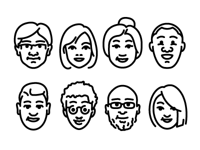 Diversity people icons faces diversity