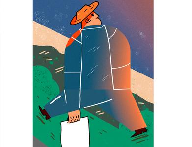 Walking art illustrator vector minimal flat logo design illustration