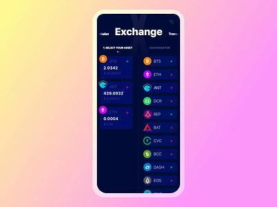 Exodus Wallet 2.0. The Exchange Interaction crypto wallet ethereum bitcoin exchange slider trade marketplace crypto ios branding animation principle interaction app mobile ui ux
