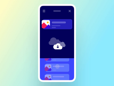 Interaction #28. The File Cloud scroll swipe clock loader physical thumbnail file upload file cloud android ios interaction app mobile ui ux