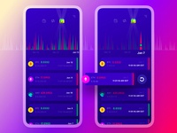 Exodus Wallet 3.0. The Transactions Pages debit credit red purple illustraion graphic calendar filters bitcoin ethereum crypto wallet transactions interaction app mobile ui ux