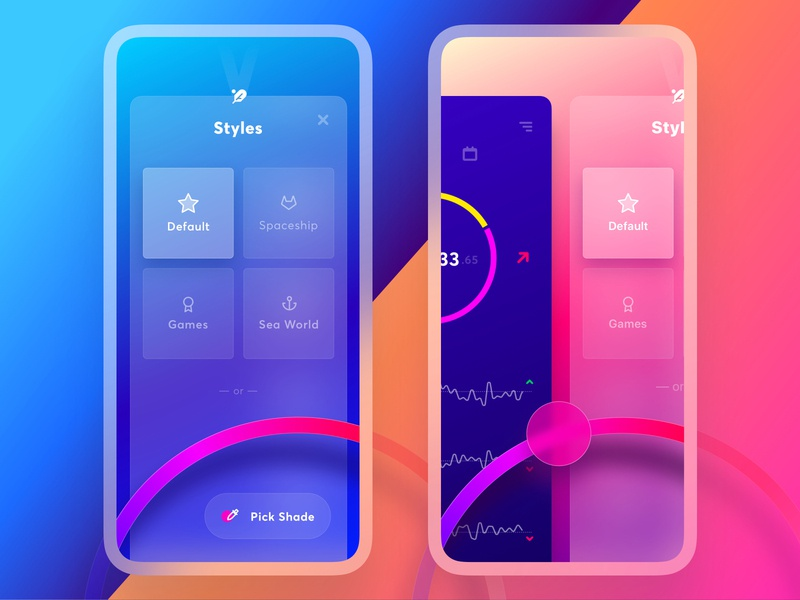 Exodus Wallet 3.0. The Styles Page skins app styles feather dual shade picker personalized app theme crypto color picker slider interaction app mobile ui ux