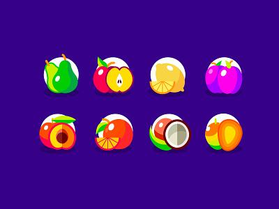 Fruit Illustrations tasty purple plum peach orange mango coconut lemon apple pear illustraion fruit