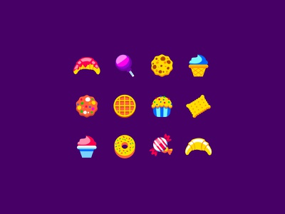 Sweets Whaat? icecream croissant bakery cookie waffles hard candy candy sweets illustraion