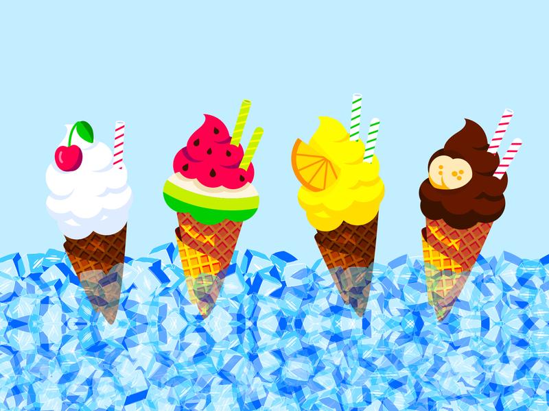 Ice Cream Served icecube straw ice chocolate banana lemon watermelon cherry cones ice cream illustration icecream