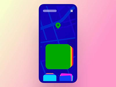 Interaction #32. The Jumping Card Stacks swiping cardstack 3d map pin rotation menu bounce ios principle interaction app mobile ui ux