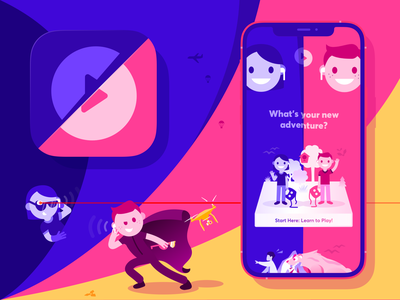 PairPlay. Adventure App illustraion iphone 12 airpods adventure drone ios icon app mobile ui ux