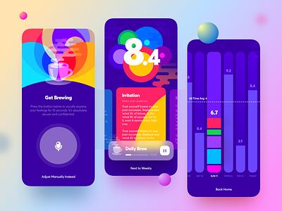 Joye App. V1 emotional intelligence happiness voice recognition brew iphone12 meditation branding dashboard app mobile ui ux