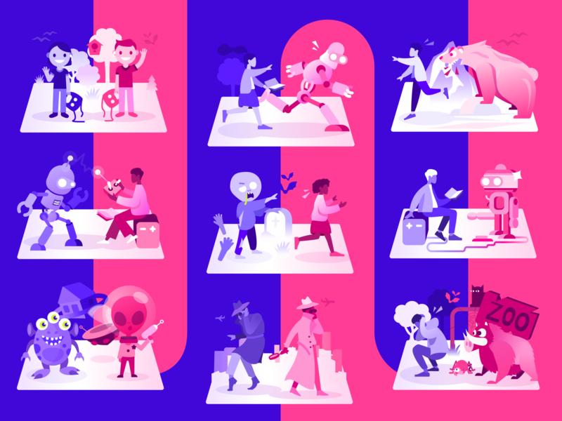 PairPlay. Episode Illustrations branding playful zoo kids zombie alien bear robot illustrations