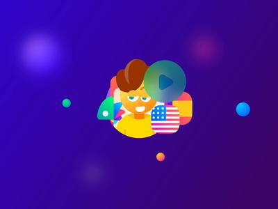 "Fluently. ""We're Different"" Icons Set ae emoji clock ai animation flags language exchange benefits illustrations icons"