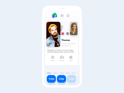 Fluently. Walk-Through chameleon scheduler calender language exchange language learning languages principle animation interaction app mobile ui ux