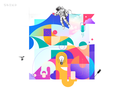 Z. Creative Process rebound this creative process branding collage art astronaut hummingbird riddle puzzle idea design process