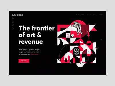 Zubko Studio Website satellite astronaut cosmos art abstract shapes design studio brand design website web ui ux