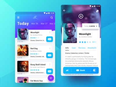 Cinema Club cinema ux ui mobile list poster tickets movie app material