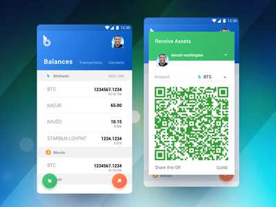 BitShares Munich. Carbon (Smartcoins Wallet v2.0). floating button qr code finance sketch android app mobile ui ux cryptocurrency