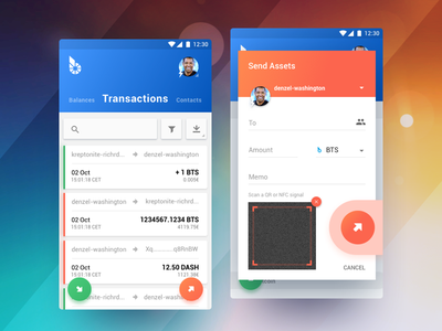 BitShares Munich. Carbon (Smartcoins Wallet v2.0) cryptocurrency ux ui mobile app android sketch finance qr code floating button